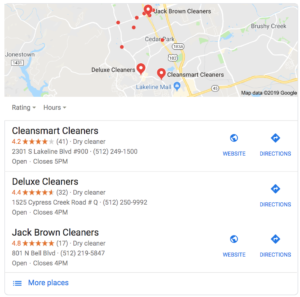 Local Search Google map results